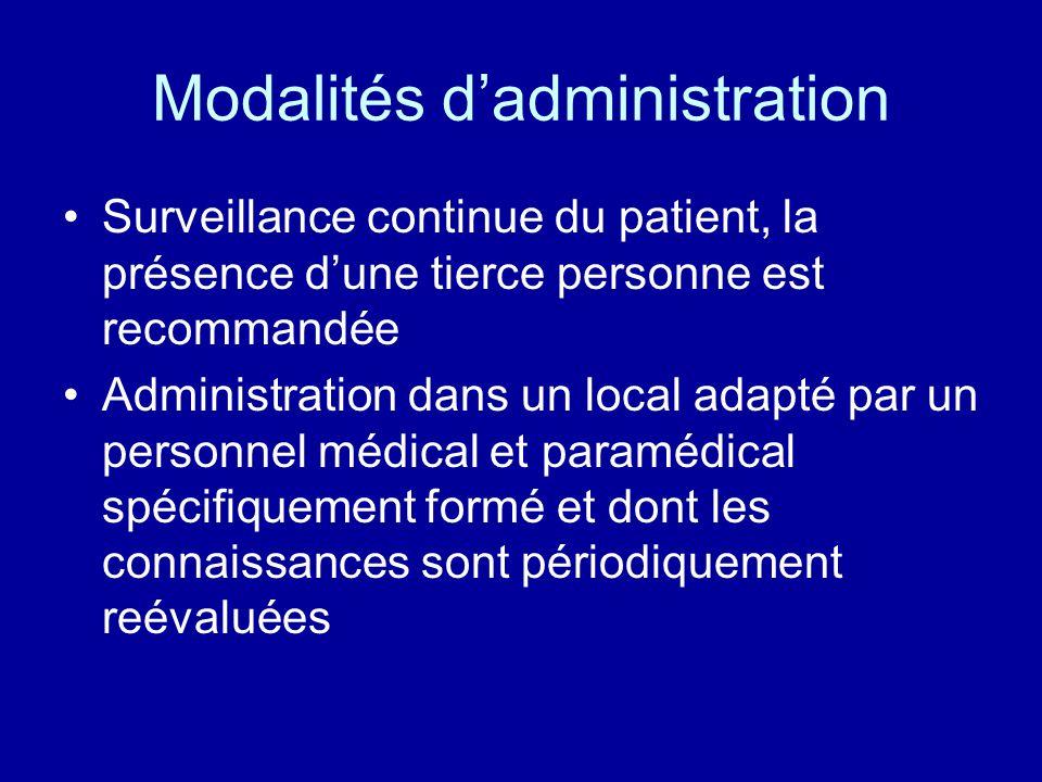 Modalités d'administration
