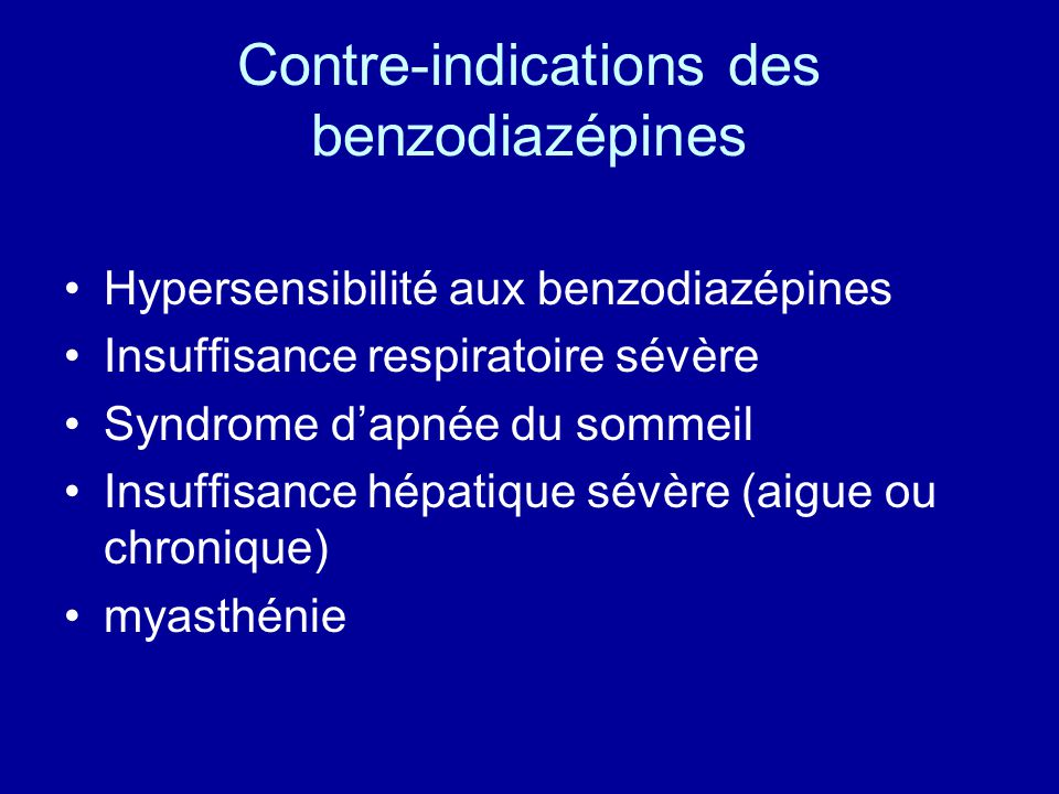 Contre-indications des benzodiazépines