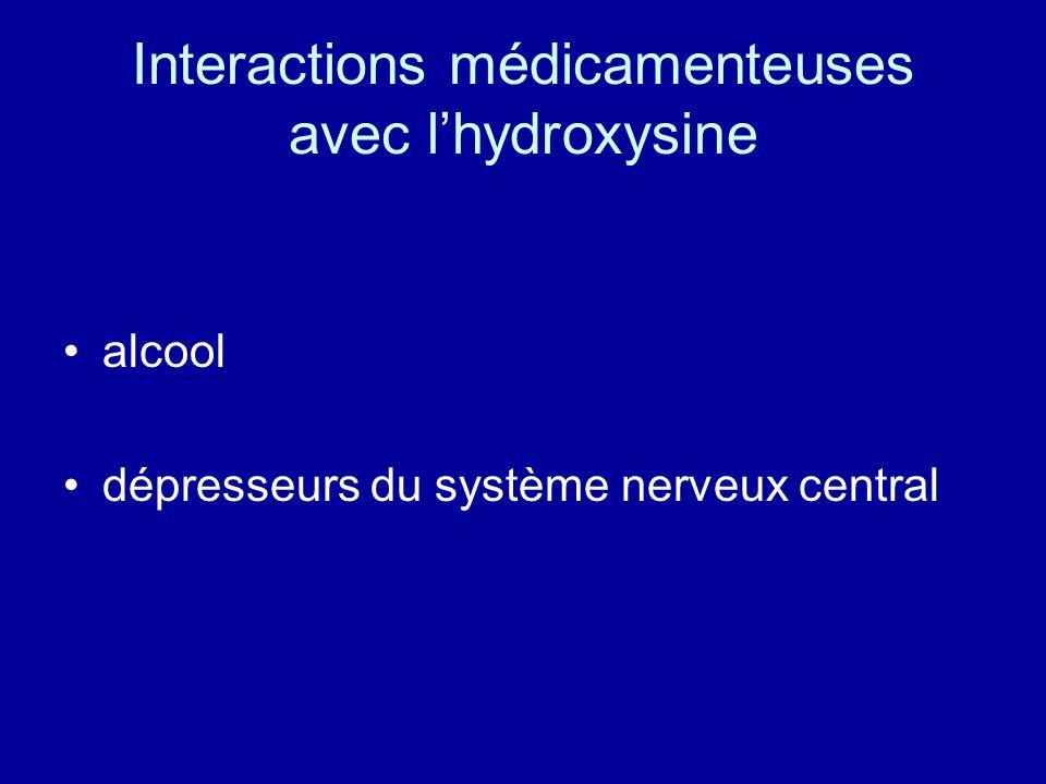 Interactions médicamenteuses avec l'hydroxysine
