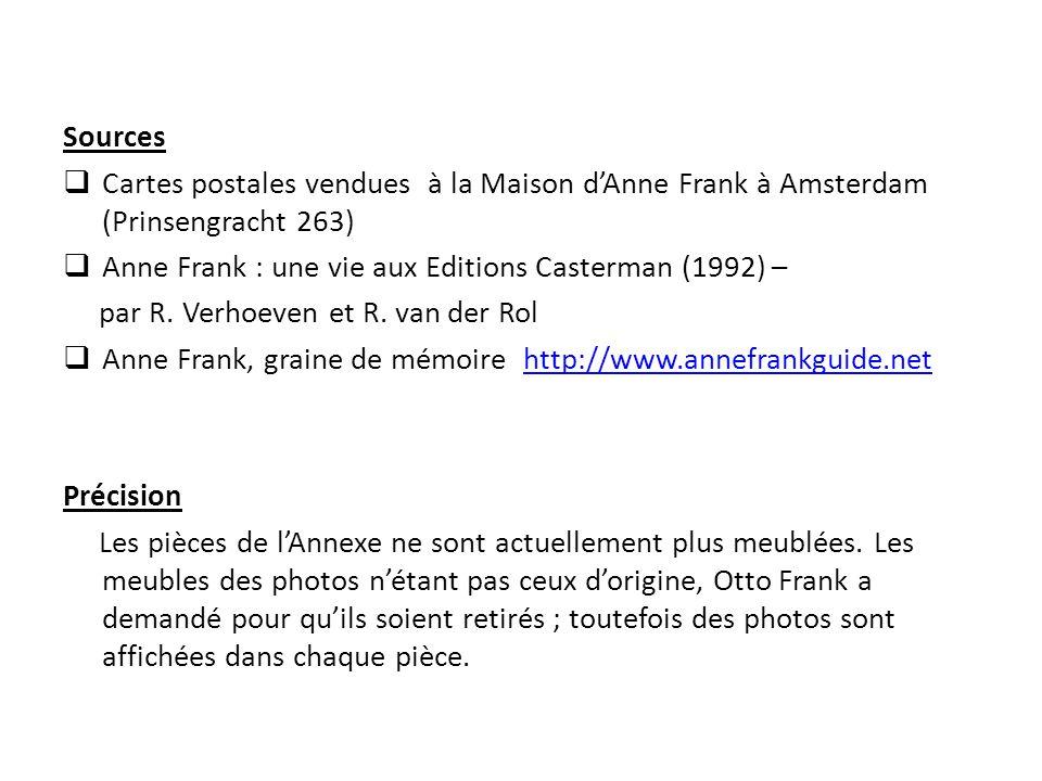 Sources Cartes postales vendues à la Maison d'Anne Frank à Amsterdam (Prinsengracht 263) Anne Frank : une vie aux Editions Casterman (1992) –