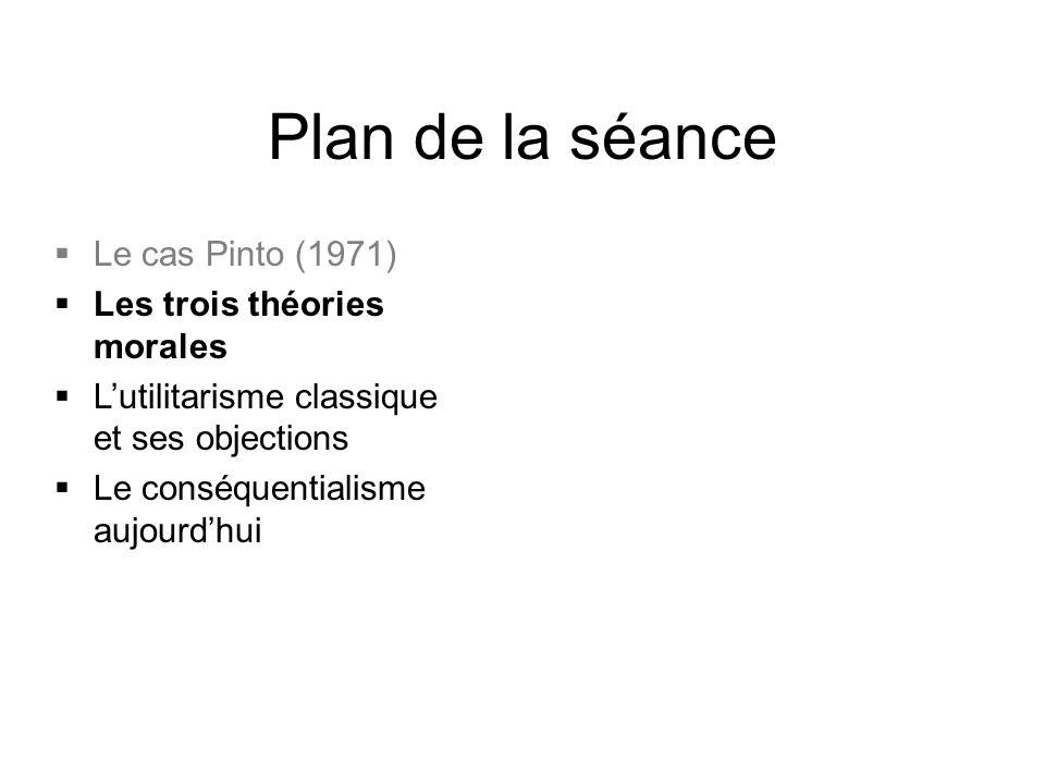 Plan de la séance Le cas Pinto (1971) Les trois théories morales