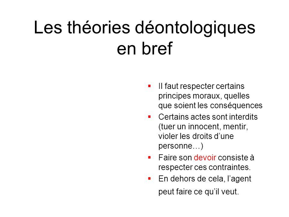 Les théories déontologiques en bref