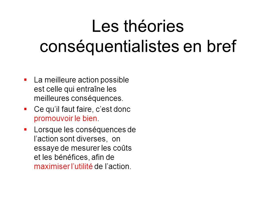 Les théories conséquentialistes en bref