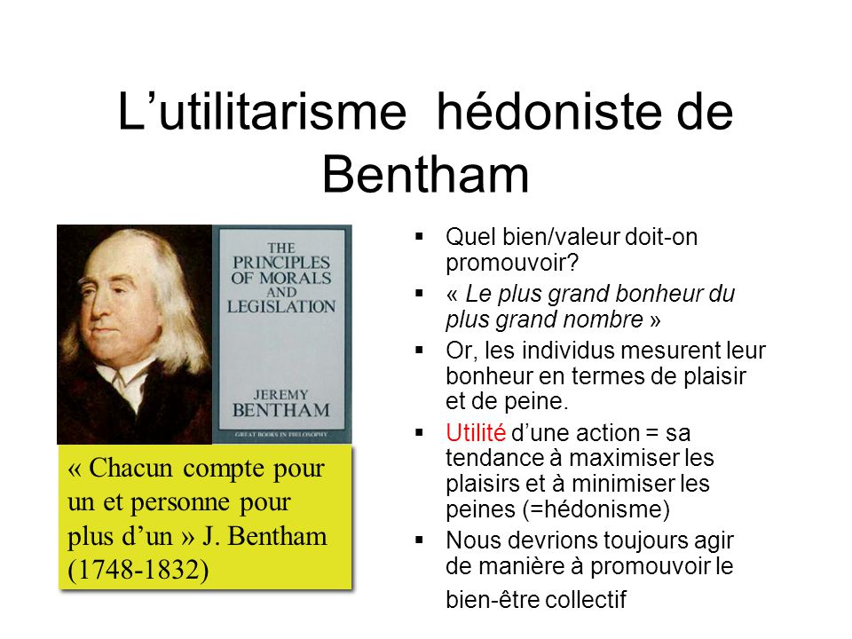 L'utilitarisme hédoniste de Bentham