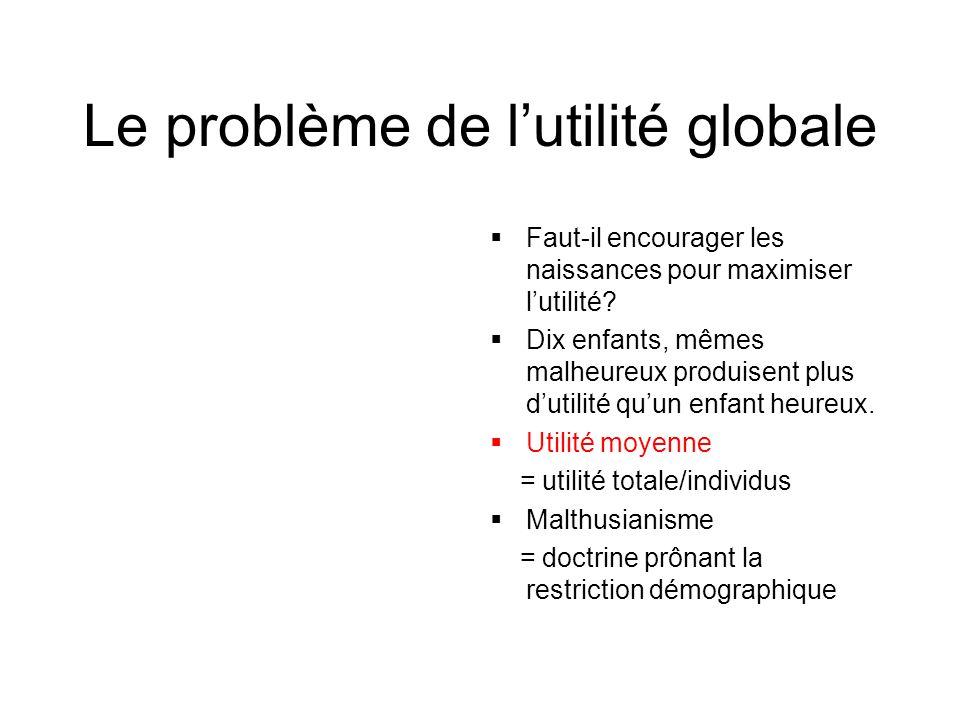 Le problème de l'utilité globale