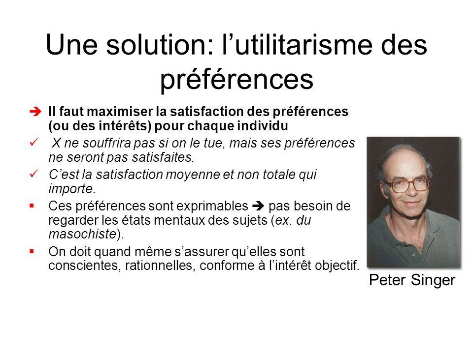 Une solution: l'utilitarisme des préférences
