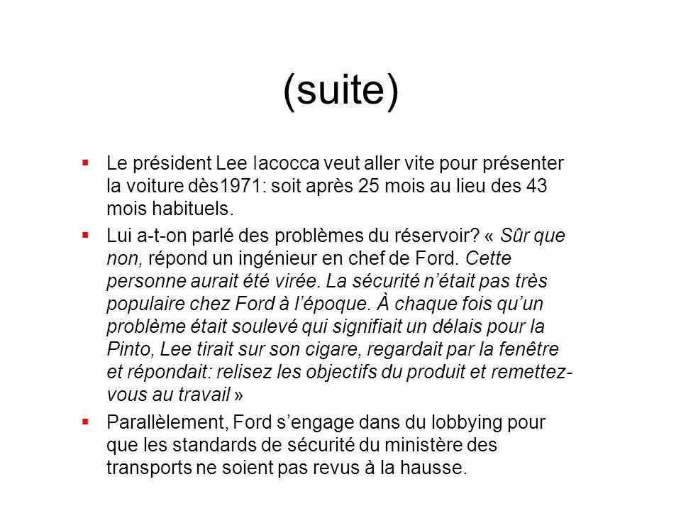 (suite) Le président Lee Iacocca veut aller vite pour présenter la voiture dès1971: soit après 25 mois au lieu des 43 mois habituels.