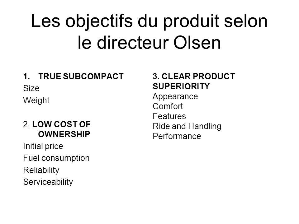 Les objectifs du produit selon le directeur Olsen