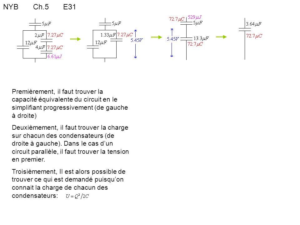 NYB Ch.5 E31 Premièrement, il faut trouver la capacité équivalente du circuit en le simplifiant progressivement (de gauche à droite)