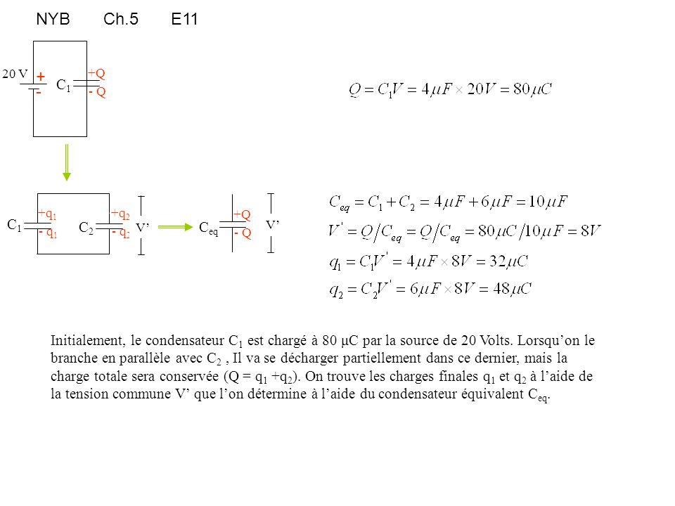 NYB Ch.5 E11 +Q + - +q1 +q2 +Q C1 C2 C1 Ceq