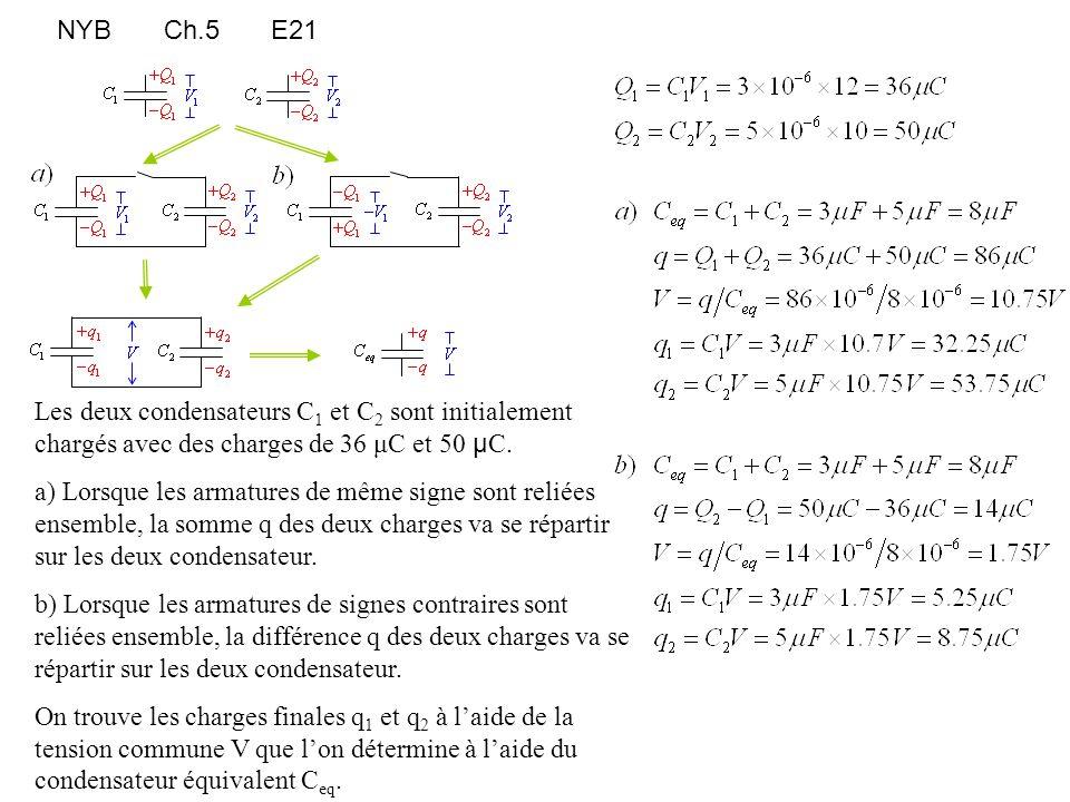 NYB Ch.5 E21 Les deux condensateurs C1 et C2 sont initialement chargés avec des charges de 36 μC et 50 μC.