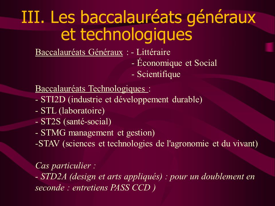 III. Les baccalauréats généraux et technologiques