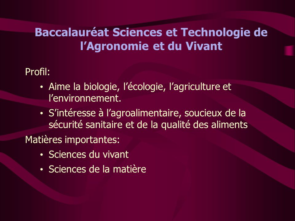 Baccalauréat Sciences et Technologie de l'Agronomie et du Vivant