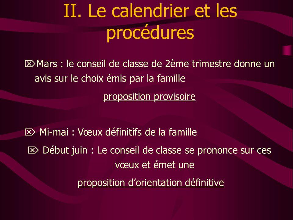 II. Le calendrier et les procédures