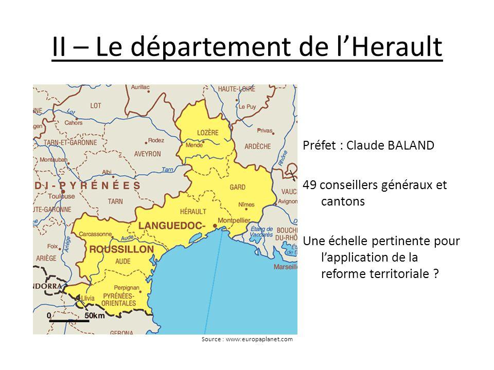 II – Le département de l'Herault