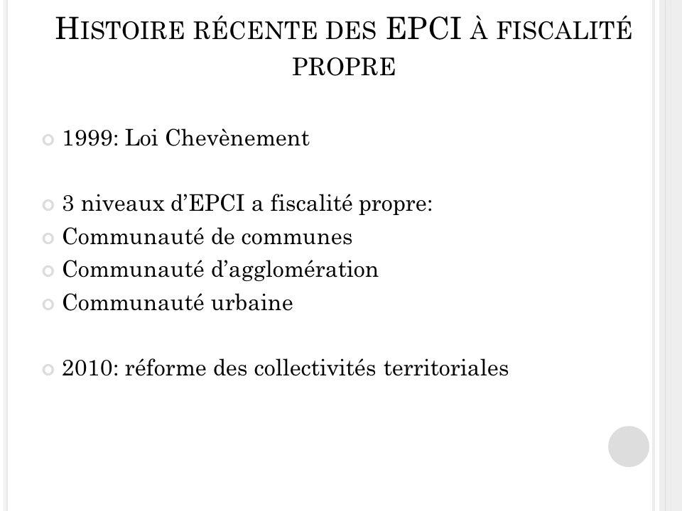 Histoire récente des EPCI à fiscalité propre