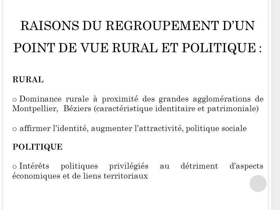 RAISONS DU REGROUPEMENT D'UN POINT DE VUE RURAL ET POLITIQUE :