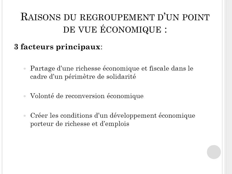 Raisons du regroupement d'un point de vue économique :