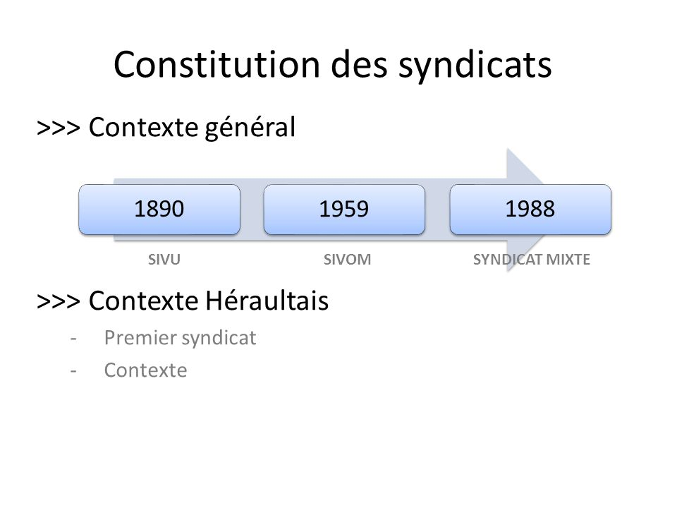 Constitution des syndicats