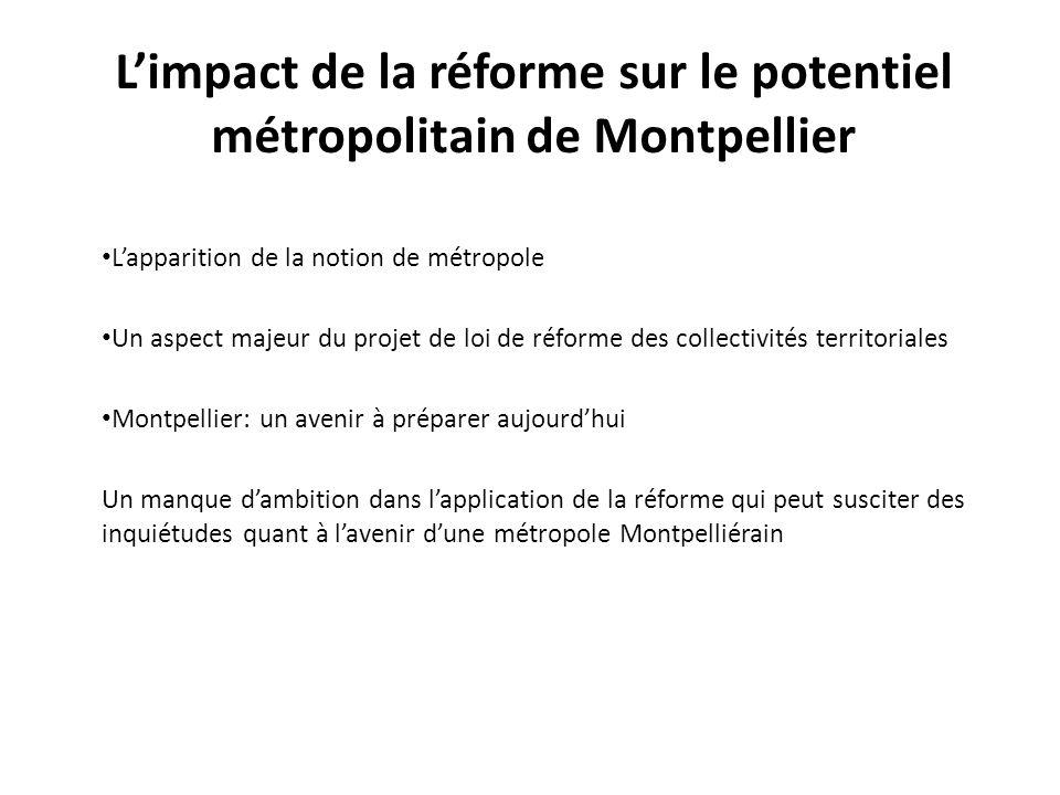 L'impact de la réforme sur le potentiel métropolitain de Montpellier