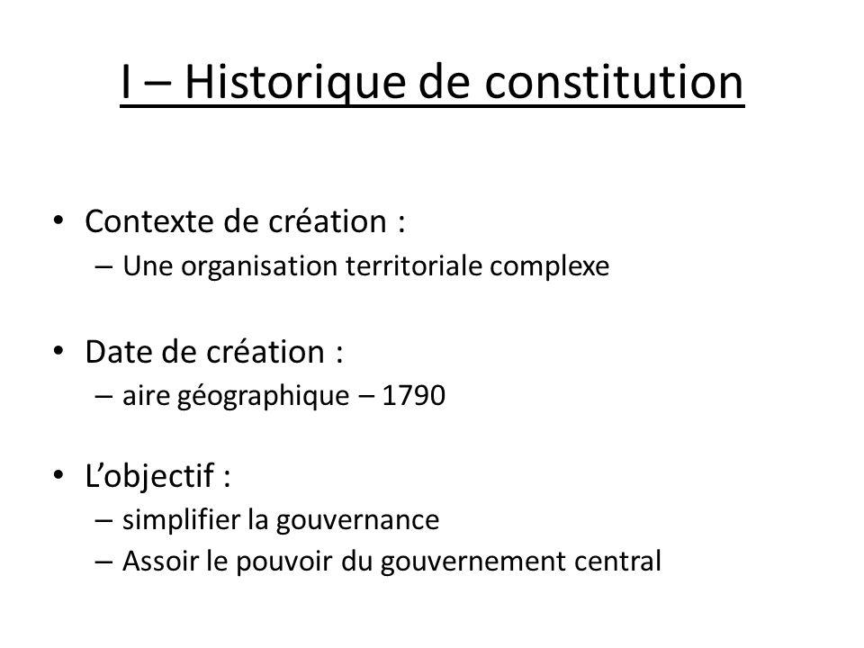 I – Historique de constitution