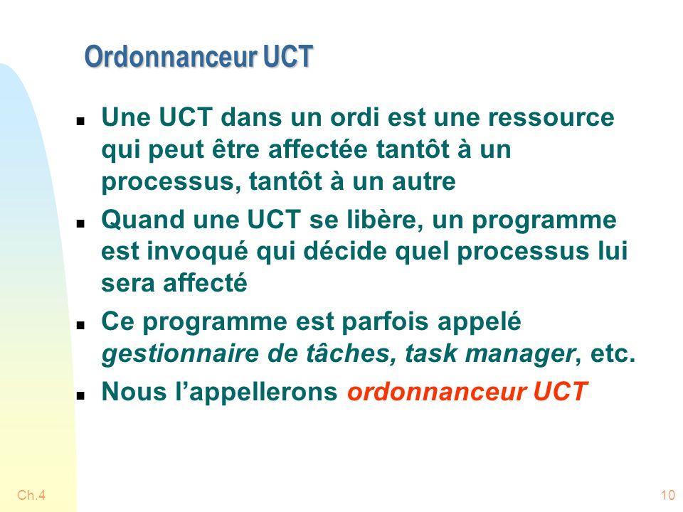 Ordonnanceur UCT Une UCT dans un ordi est une ressource qui peut être affectée tantôt à un processus, tantôt à un autre.
