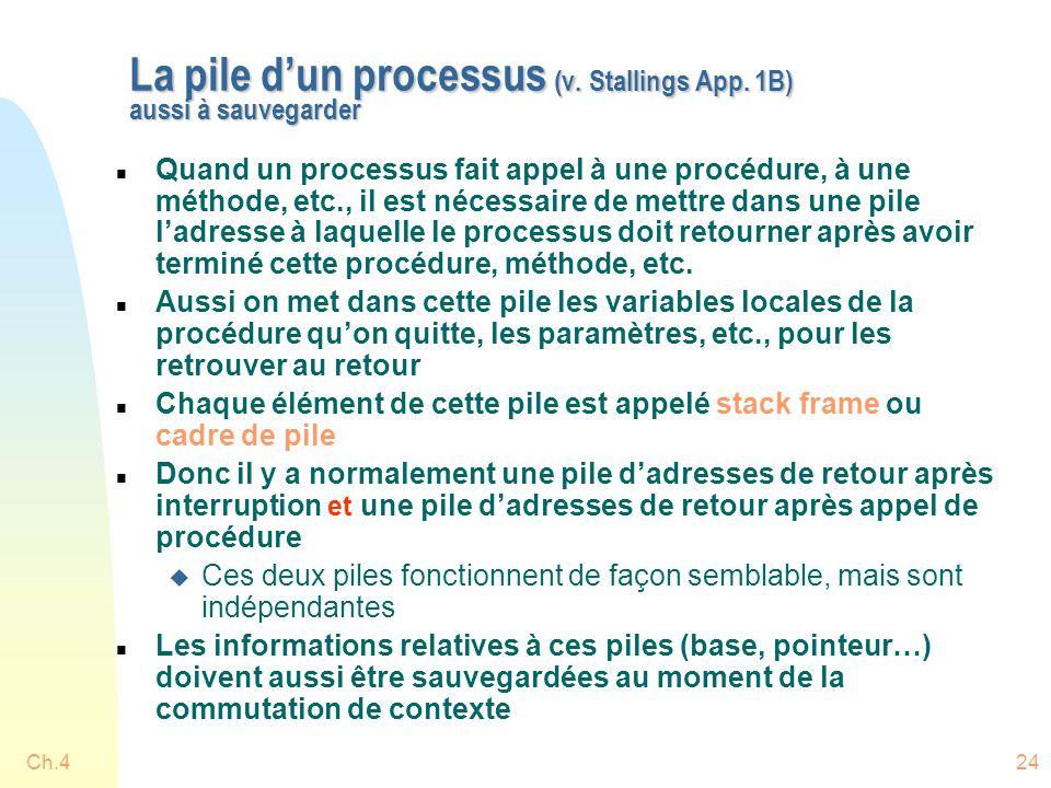 La pile d'un processus (v. Stallings App. 1B) aussi à sauvegarder