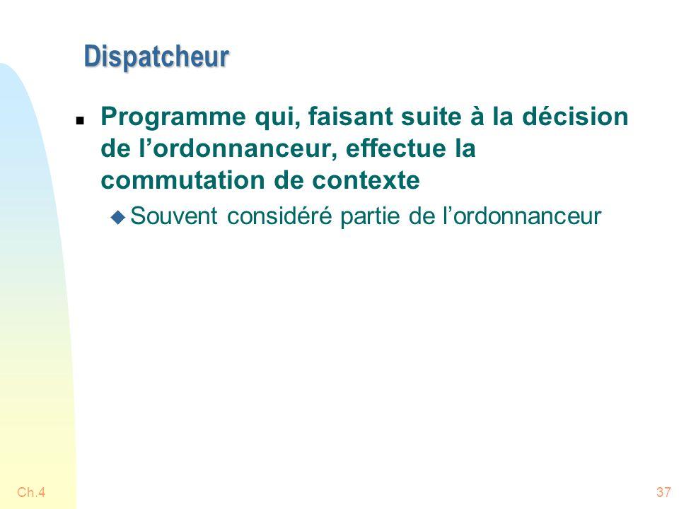 Dispatcheur Programme qui, faisant suite à la décision de l'ordonnanceur, effectue la commutation de contexte.