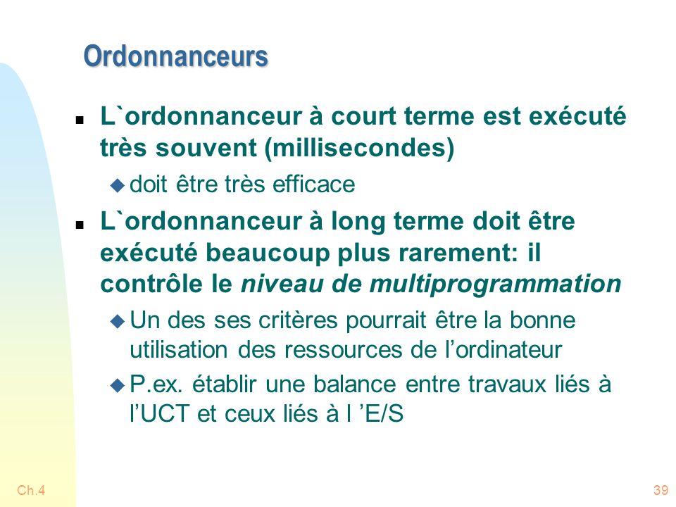 Ordonnanceurs L`ordonnanceur à court terme est exécuté très souvent (millisecondes) doit être très efficace.