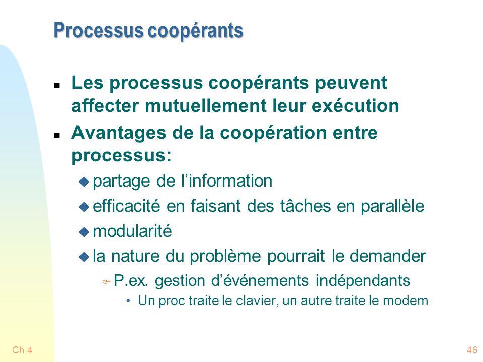 Processus coopérants Les processus coopérants peuvent affecter mutuellement leur exécution. Avantages de la coopération entre processus:
