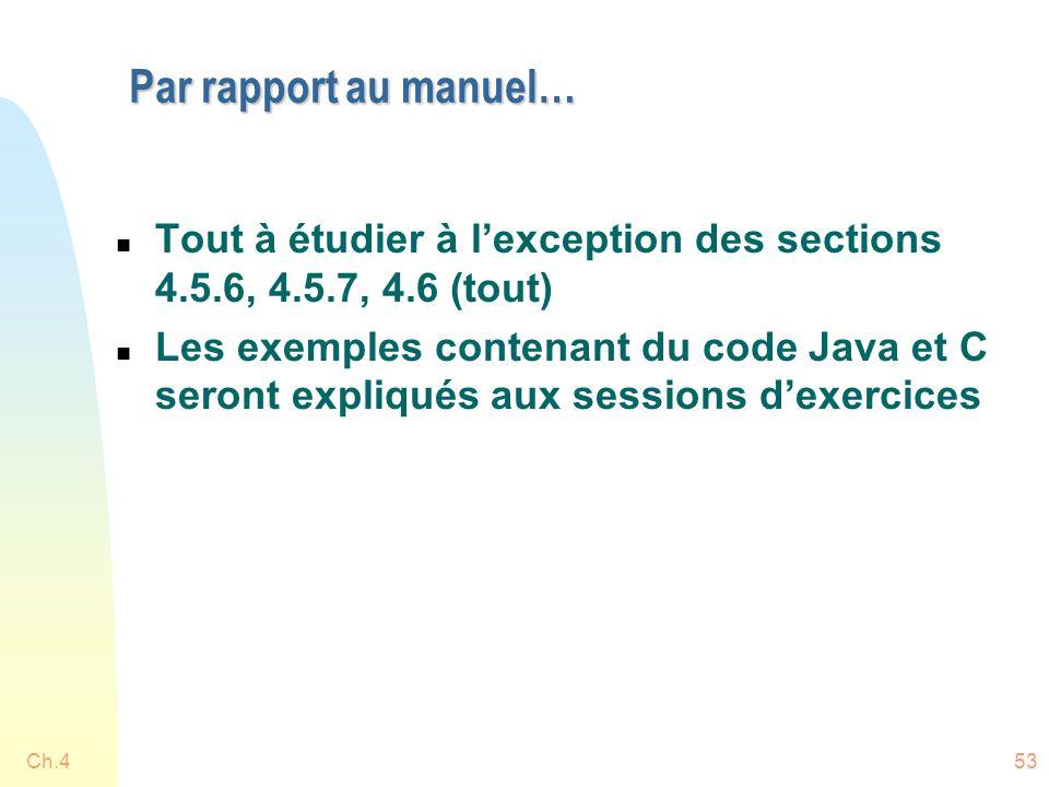 Par rapport au manuel… Tout à étudier à l'exception des sections 4.5.6, 4.5.7, 4.6 (tout)
