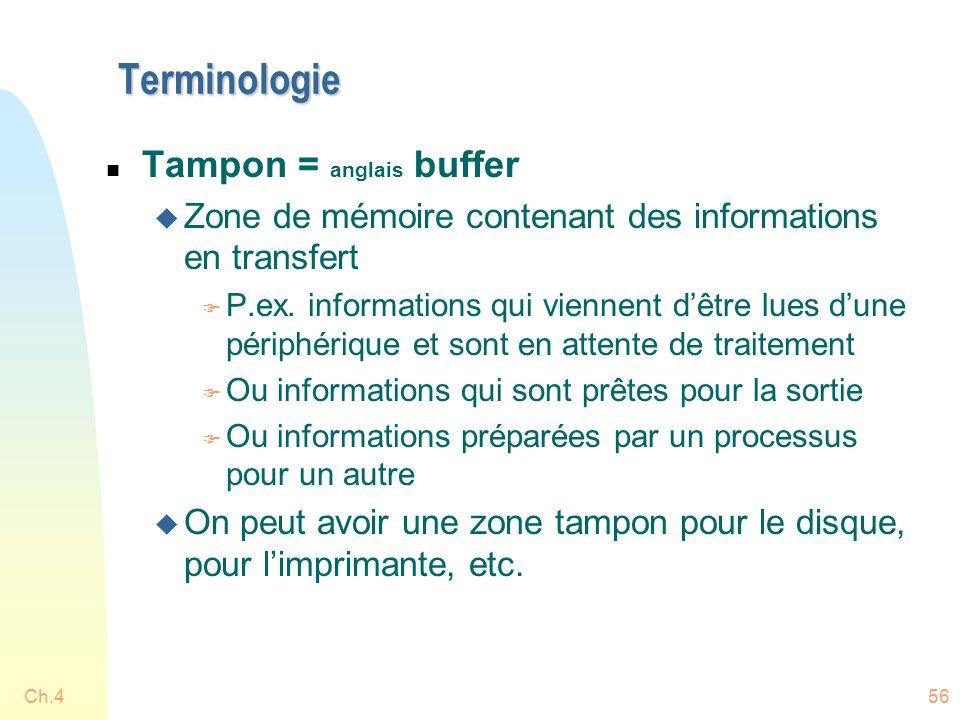 Terminologie Tampon = anglais buffer