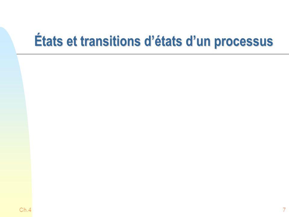 États et transitions d'états d'un processus