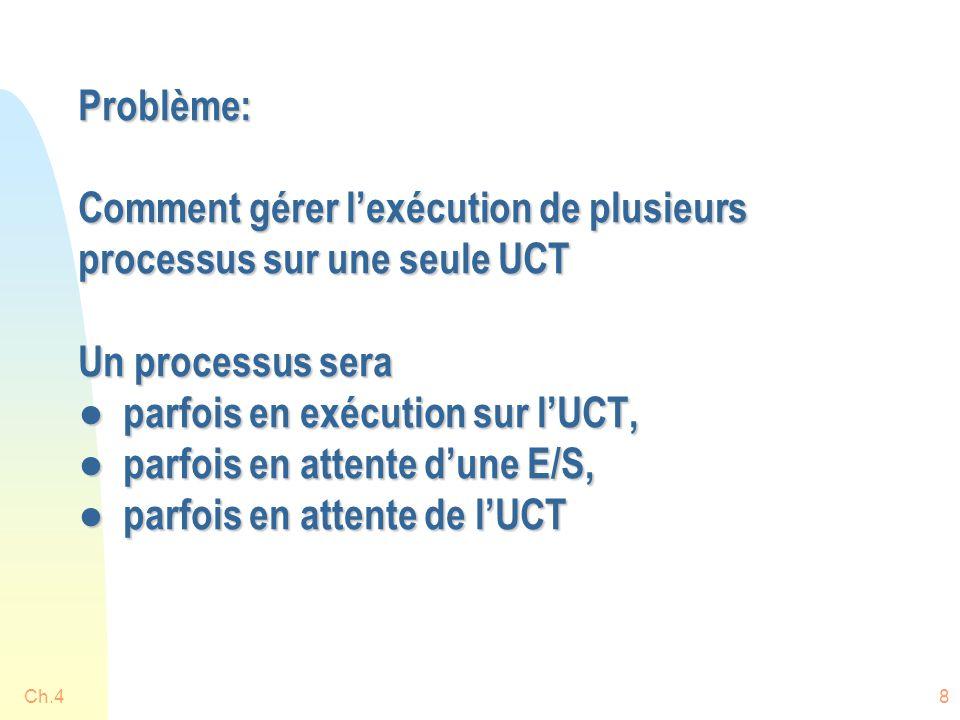 Problème: Comment gérer l'exécution de plusieurs processus sur une seule UCT Un processus sera ● parfois en exécution sur l'UCT, ● parfois en attente d'une E/S, ● parfois en attente de l'UCT