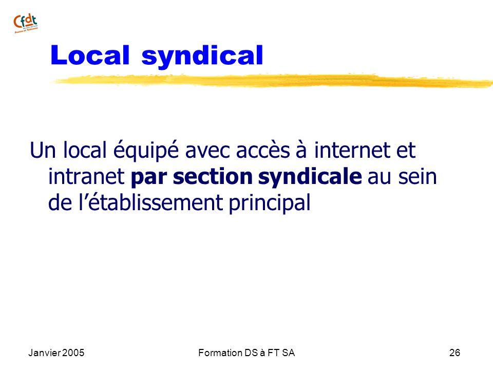 Local syndicalUn local équipé avec accès à internet et intranet par section syndicale au sein de l'établissement principal.