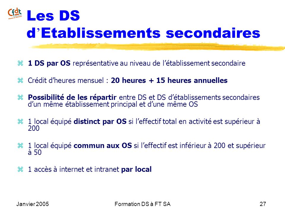 Les DS d'Etablissements secondaires