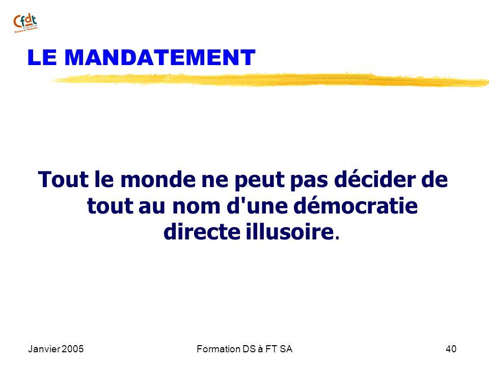 LE MANDATEMENTTout le monde ne peut pas décider de tout au nom d une démocratie directe illusoire. Janvier 2005.