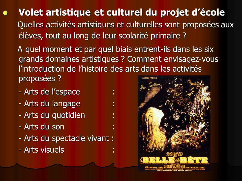 Volet artistique et culturel du projet d'école