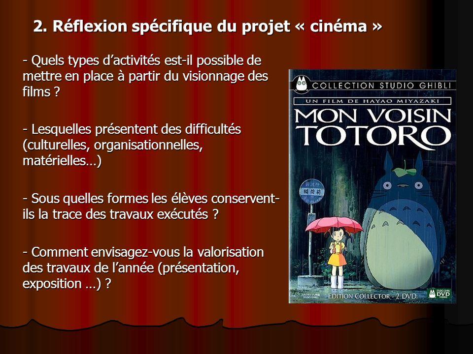 2. Réflexion spécifique du projet « cinéma »