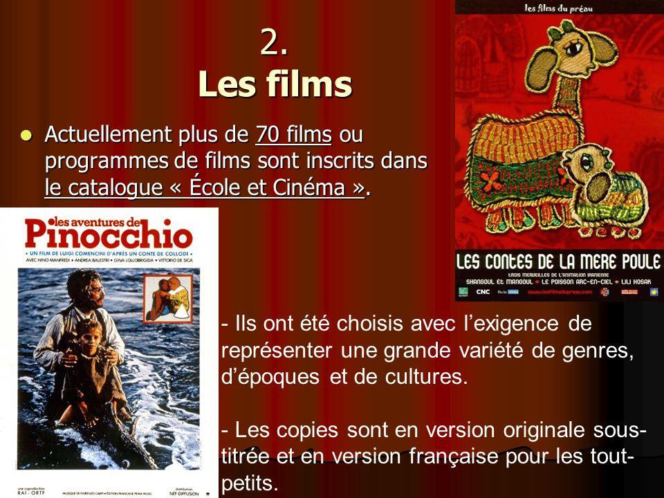 2. Les films Actuellement plus de 70 films ou programmes de films sont inscrits dans le catalogue « École et Cinéma ».