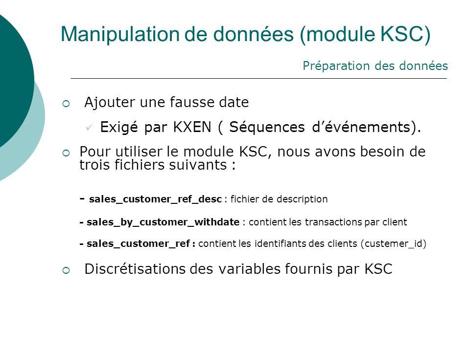 Manipulation de données (module KSC)