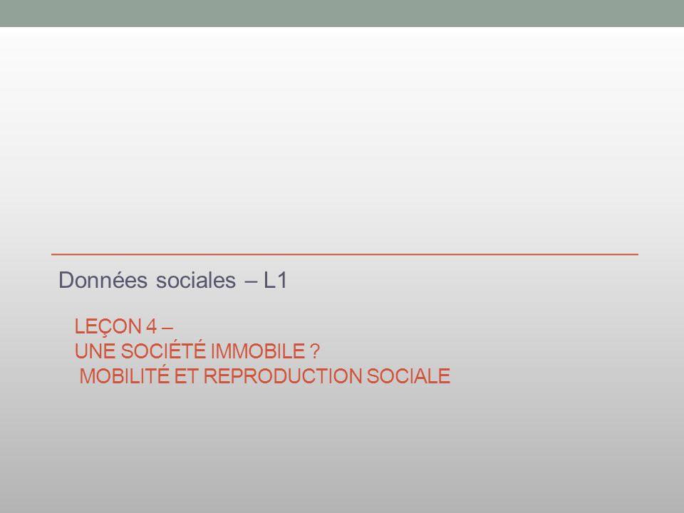 Leçon 4 – Une société immobile Mobilité et reproduction sociale