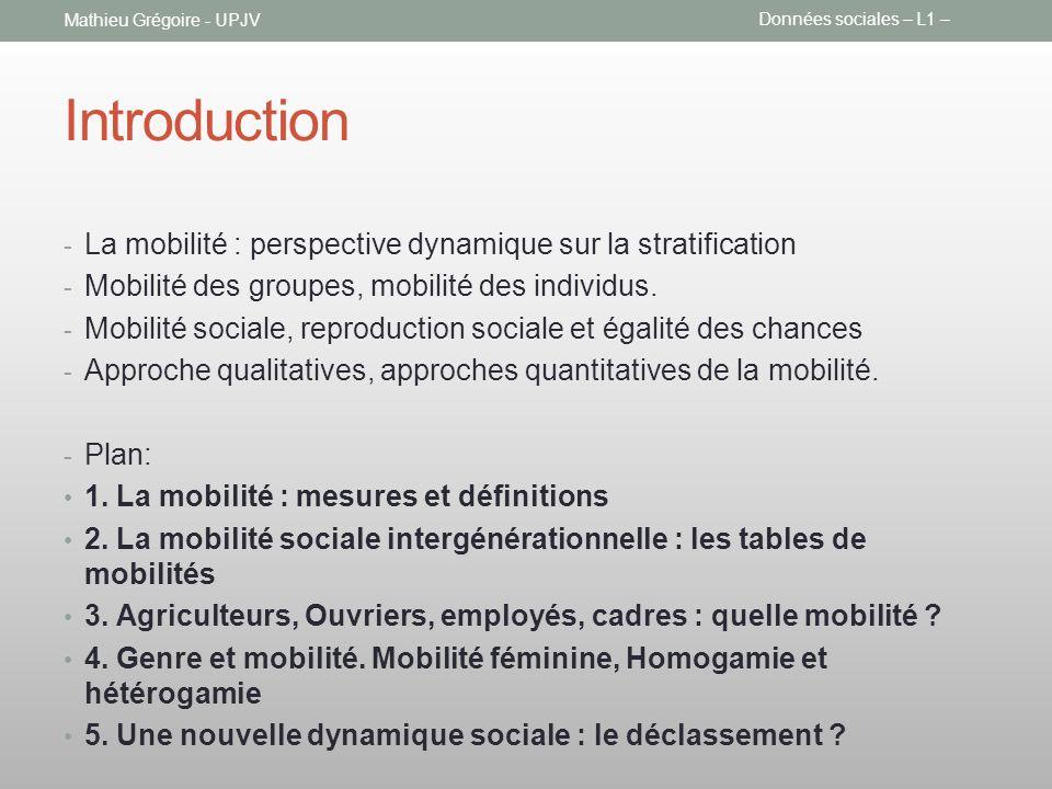 Introduction La mobilité : perspective dynamique sur la stratification