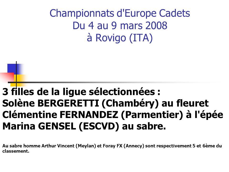 Championnats d Europe Cadets Du 4 au 9 mars 2008 à Rovigo (ITA)