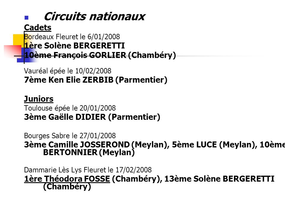 Circuits nationaux Cadets 1ère Solène BERGERETTI