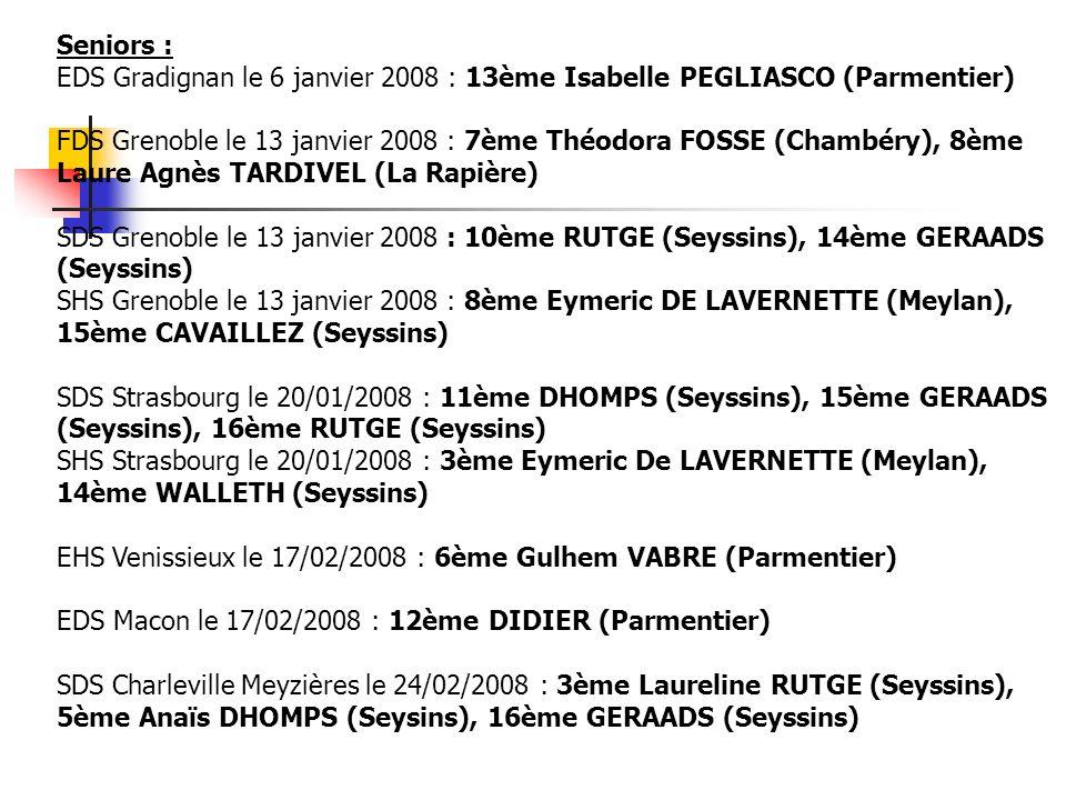 Seniors : EDS Gradignan le 6 janvier 2008 : 13ème Isabelle PEGLIASCO (Parmentier)