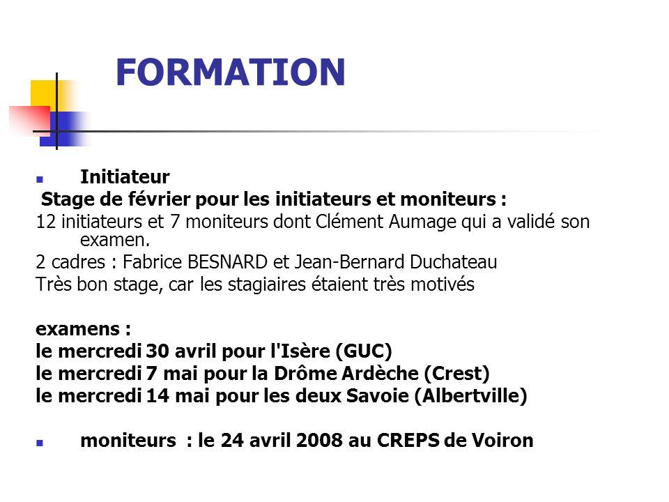 FORMATIONInitiateur Stage de février pour les initiateurs et moniteurs : 12 initiateurs et 7 moniteurs dont Clément Aumage qui a validé son examen.