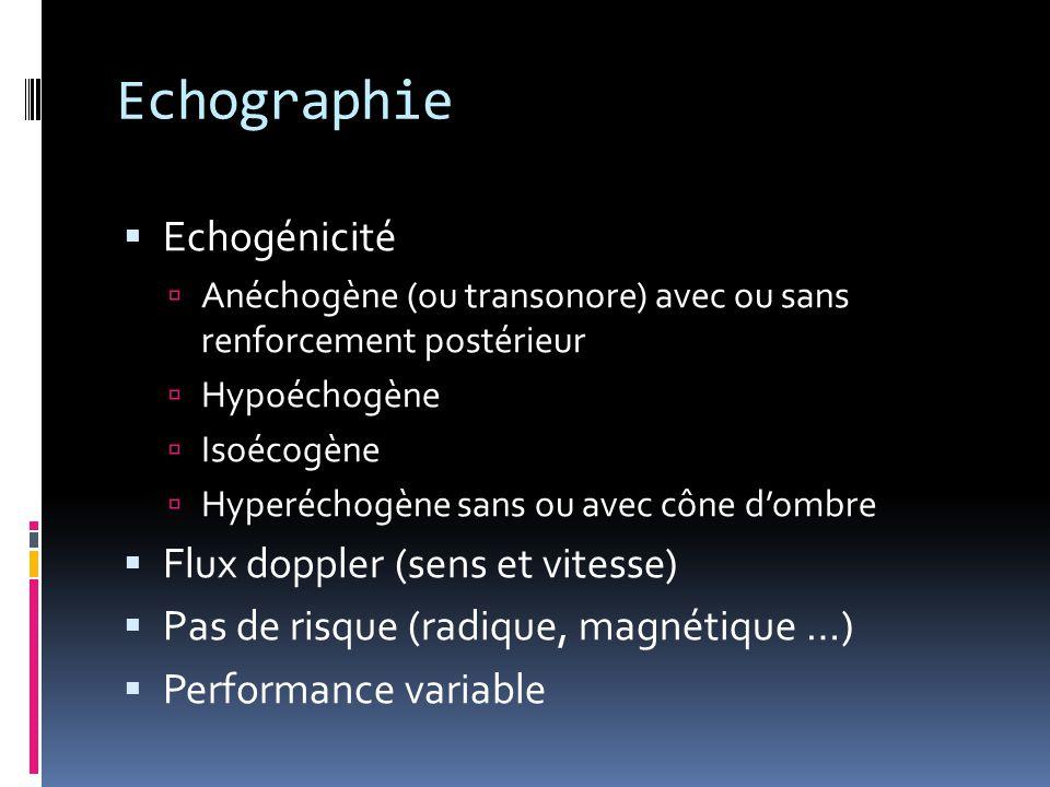 Echographie Echogénicité Flux doppler (sens et vitesse)