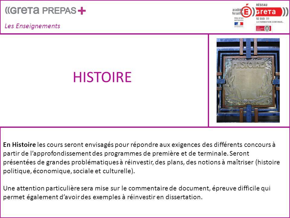 HISTOIRE Les Enseignements