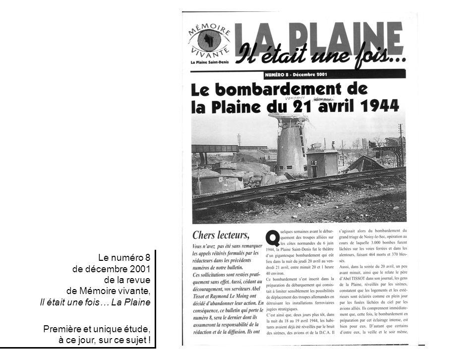 Le numéro 8 de décembre 2001 de la revue de Mémoire vivante, Il était une fois… La Plaine